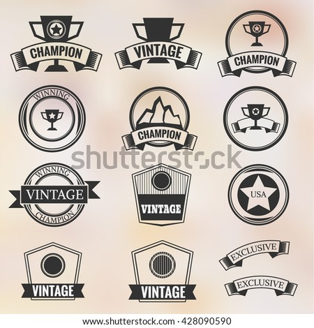 Collection of Premium Quality Labels retro vintage styled design,Badge  Flat Design vector Illustration  - stock vector