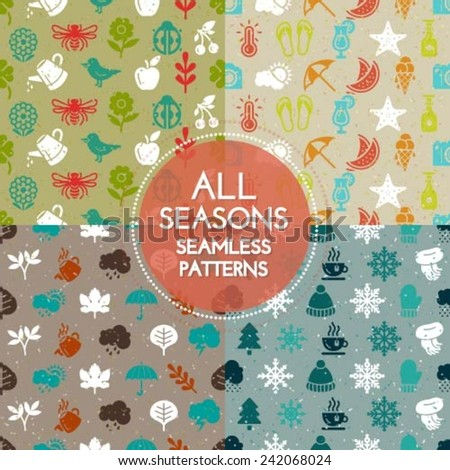 Collection of premium quality seamless patterns with all season icons and design elements - stock vector