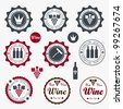 Collection of Premium Quality Wine Labels with retro vintage styled design - stock vector