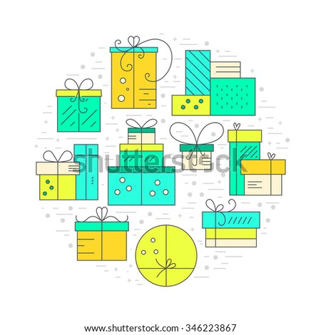 Collection of presents and gift boxes arranged in a circle. Design element for postcard, invitation, banner or flyer made in modern line style vector. Birthday party or holiday illustration.