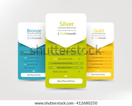 Collection of pricing plans for websites and applications. Hosting table banner. Vector illustration - stock vector