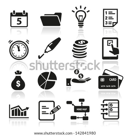 Collection of productivity and time management icons - stock vector