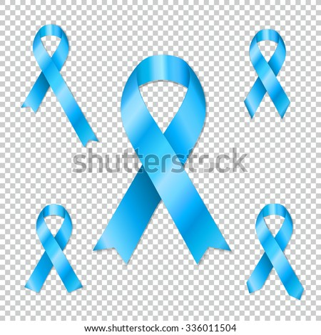Collection of Prostate cancer ribbon awareness collection. Light blue ribbons. Editable - very easy to use. - stock vector