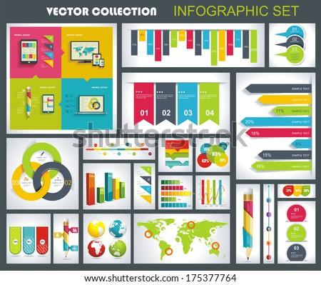 Collection of quality Infographics Design. Vector templates ready to display your data. - stock vector