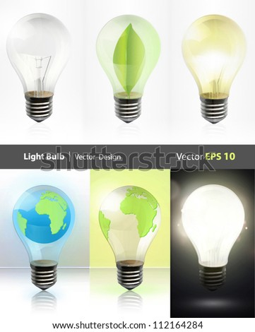 Collection of realistic bulbs. Lightbulb, lightbulb off, bulb with earth, and bulb with leaf. Vector design.