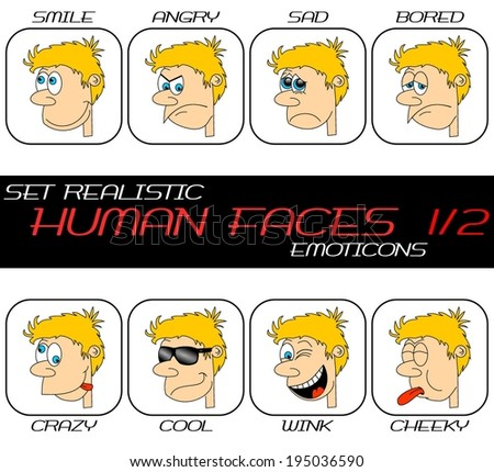 Collection of realistic caricature human face web emoticons. Boy head with hair, nose, eyes, mouth, teeth in different expressions. Set 1/2. vector art image illustration, isolated on white background - stock vector
