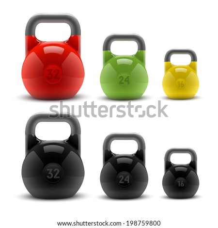 Collection of realistic classic kettlebells isolated on white background. Fitness symbol. Vector illustration - stock vector