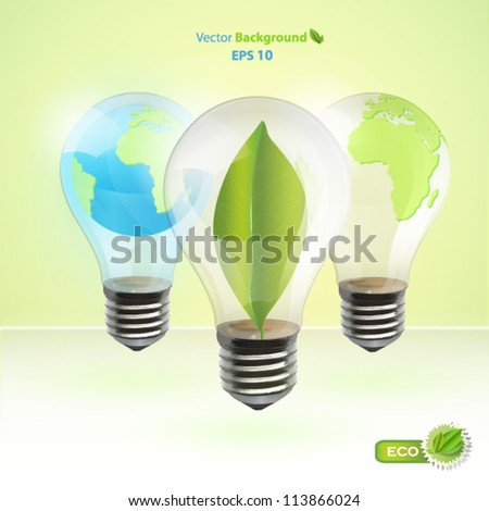 Collection of realistic eco bulb. Vector background design. - stock vector