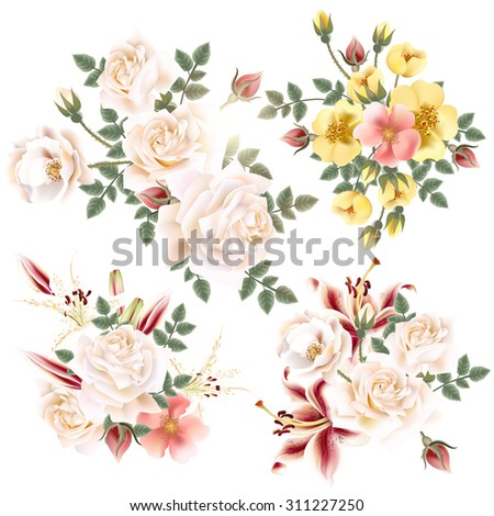 Collection of realistic old-styled roses and lilies on white background - stock vector