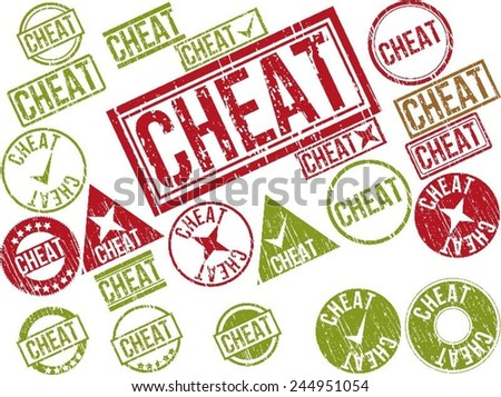 "Collection of 22 red and green grunge rubber stamps with text ""CHEAT"" . Vector illustration"