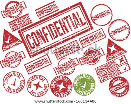 """Collection of 21 red and green grunge rubber stamps with text """"CONFIDENTIAL"""" . Vector illustration - stock vector"""