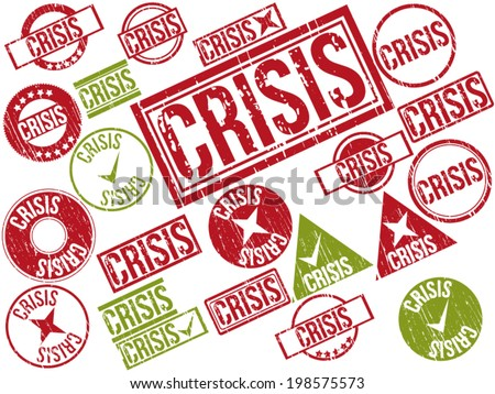 "Collection of 22 red and green grunge rubber stamps with text ""CRISIS"" . Vector illustration"