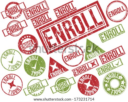 "Collection of 22 red and green grunge rubber stamps with text ""ENROLL"" . Vector illustration"