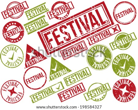 "Collection of 22 red and green grunge rubber stamps with text ""FESTIVAL"" . Vector illustration"