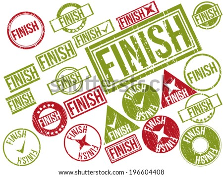"Collection of 22 red and green grunge rubber stamps with text ""FINISH"" . Vector illustration."
