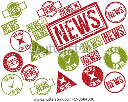 "Collection of 22 red and green grunge rubber stamps with text ""NEWS"" . Vector illustration"