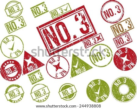 "Collection of 22 red and green grunge rubber stamps with text ""NO. 3"" . Vector illustration"
