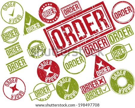 "Collection of 22 red and green grunge rubber stamps with text ""ORDER"" . Vector illustration."
