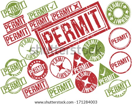 "Collection of 22 red and green grunge rubber stamps with text ""PERMIT"" . Vector illustration"