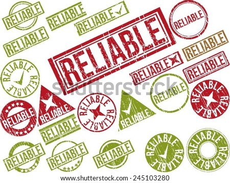 """Collection of 22 red and green grunge rubber stamps with text """"RELIABLE"""" . Vector illustration - stock vector"""