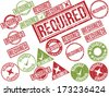 "Collection of 22 red and green grunge rubber stamps with text ""REQUIRED"" . Vector illustration - stock vector"