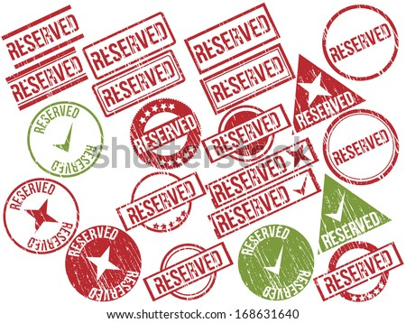"Collection of 21 red and green grunge rubber stamps with text ""RESERVED"" . Vector illustration"