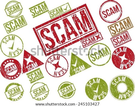 "Collection of 22 red and green grunge rubber stamps with text ""SCAM"" . Vector illustration"