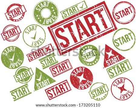 "Collection of 22 red and green grunge rubber stamps with text ""START"" . Vector illustration."