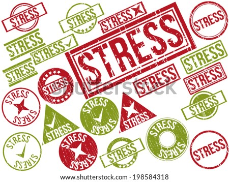 "Collection of 22 red and green grunge rubber stamps with text ""STRESS"" . Vector illustration"