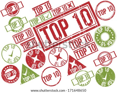 "Collection of 22 red and green grunge rubber stamps with text ""TOP 10"" . Vector illustration"
