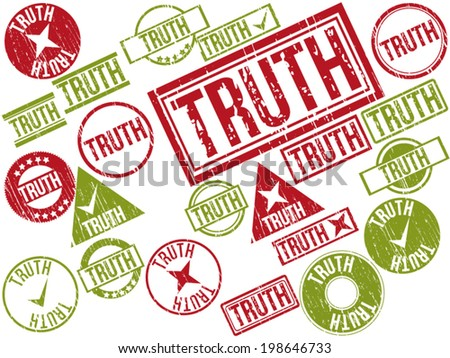 "Collection of 22 red and green grunge rubber stamps with text ""TRUTH"" . Vector illustration"