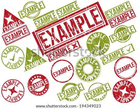 "Collection of 22 red and green grunge rubber stamps with text """" . Vector illustration."