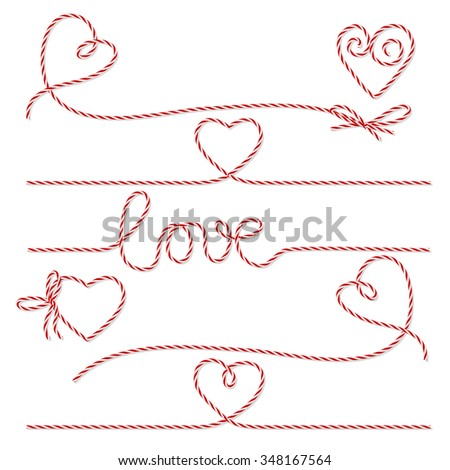 Collection of red bakers twine romantic bows and ribbons on white background - stock vector