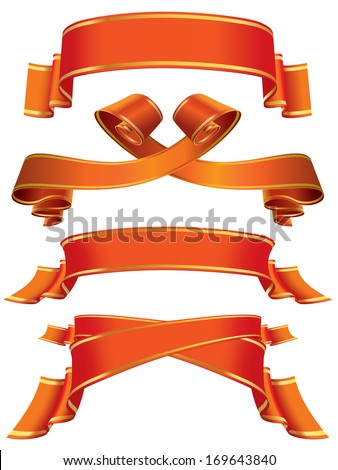 Collection of red banners and ribbons over white background - stock vector