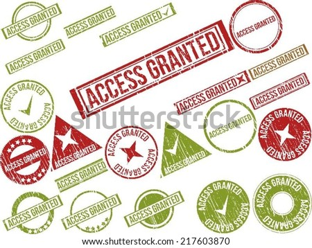 """Collection of 22 red grunge rubber stamps with text """"ACCESS GRANTED"""" . Vector illustration - stock vector"""