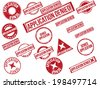 "Collection of 18 red grunge rubber stamps with text ""APPLICATION DENIED"" . Vector illustration. - stock photo"