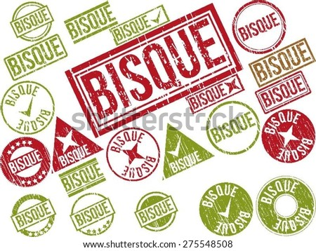 "Collection of 22 red grunge rubber stamps with text ""BISQUE"" . Vector illustration"