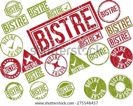 "Collection of 22 red grunge rubber stamps with text ""BISTRE"" . Vector illustration"