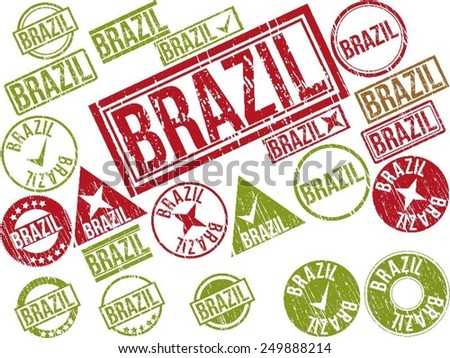 "Collection of 22 red grunge rubber stamps with text ""BRAZIL"" . Vector illustration"
