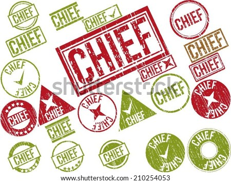 "Collection of 22 red grunge rubber stamps with text ""CHIEF"" . Vector illustration"
