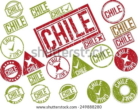 "Collection of 22 red grunge rubber stamps with text ""CHILE"" . Vector illustration"