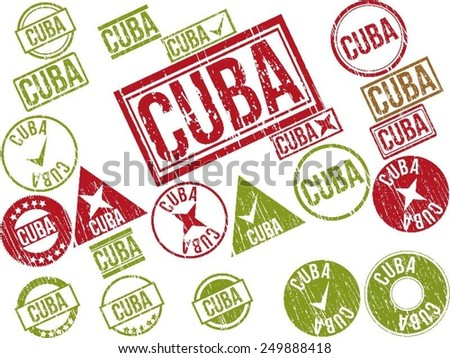 "Collection of 22 red grunge rubber stamps with text ""CUBA"" . Vector illustration"