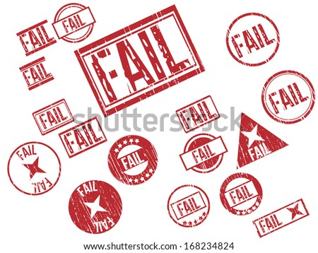 """Collection of 17 red grunge rubber stamps with text """"FAIL"""" . Vector illustration - stock vector"""