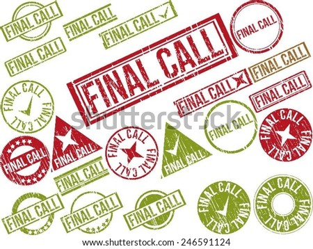 """Collection of 22 red grunge rubber stamps with text """"FINAL CALL"""" . Vector illustration - stock vector"""