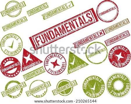 """Collection of 22 red grunge rubber stamps with text """"FUNDAMENTALS"""" . Vector illustration - stock vector"""