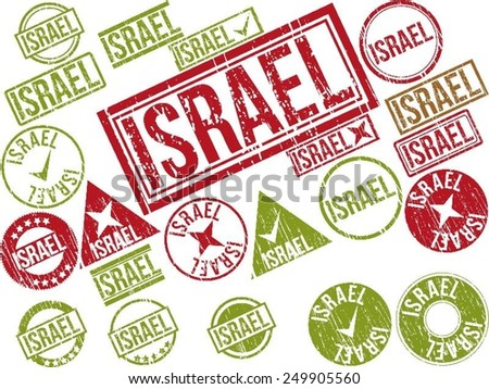 "Collection of 22 red grunge rubber stamps with text ""ISRAEL"" . Vector illustration"