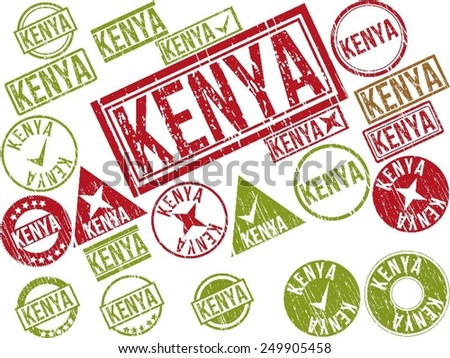 "Collection of 22 red grunge rubber stamps with text ""KENYA"" . Vector illustration"