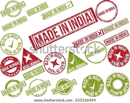 """Collection of 22 red grunge rubber stamps with text """"MADE IN INDIA"""" . Vector illustration - stock vector"""
