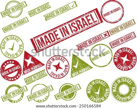 """Collection of 22 red grunge rubber stamps with text """"MADE IN ISRAEL"""" . Vector illustration - stock vector"""
