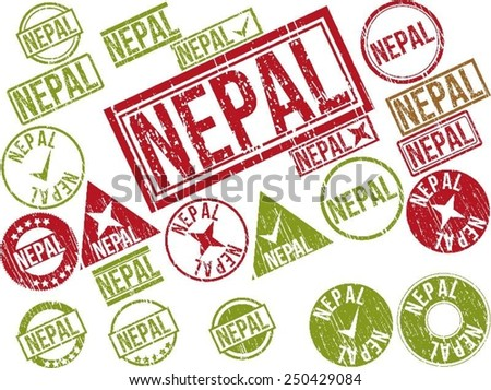 "Collection of 22 red grunge rubber stamps with text ""NEPAL"". Vector illustration"